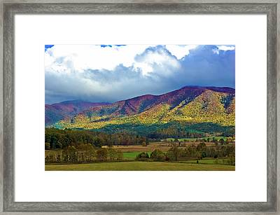 Cloud Covered Peaks Framed Print by DigiArt Diaries by Vicky B Fuller
