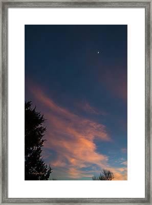 Clouds And Moon At Sunset Framed Print by Karen Slagle