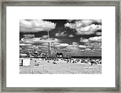 Clouds Over Seaside Heights Mono Framed Print by John Rizzuto