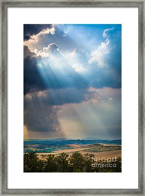 Clouds Over Tuscany Framed Print by Inge Johnsson