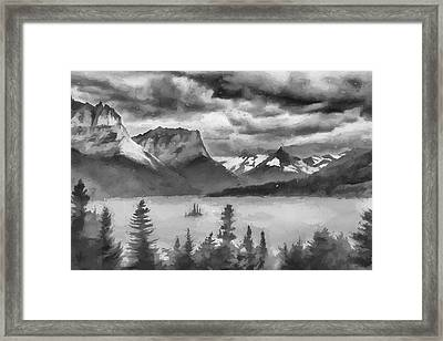 Cloudy Mountain Top II Framed Print by Jon Glaser