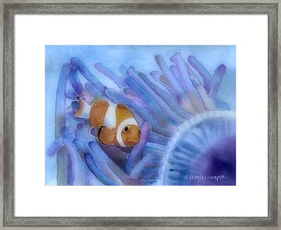Clownfish And The Sea Anemone Framed Print by Arline Wagner