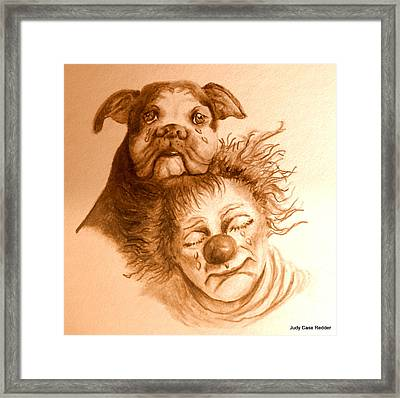 Clown's Compassion Framed Print by Judy Redder
