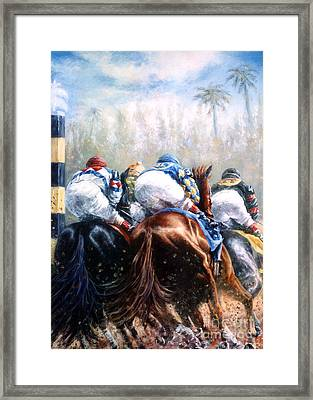 Clubhouse Turn At Gulfstream Framed Print by Thomas Allen Pauly