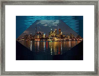 Cn  Tower And Toronto Down Town Water Front Beauty At Night Hexagon Poster  Framed Print by Navin Joshi