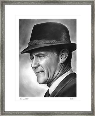 Coach Tom Landry Framed Print by Greg Joens
