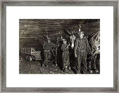 Coal Mine Mule Drivers  1908 Framed Print by Daniel Hagerman