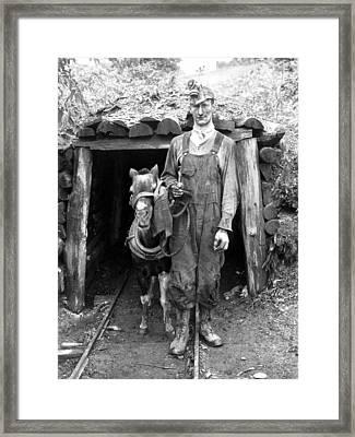 Coal Miner & Mule 1940 Framed Print by Granger