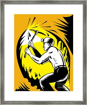 Coal Miner At Work Framed Print by Aloysius Patrimonio