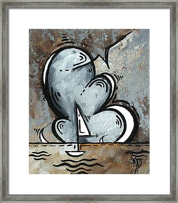 Coastal Art Contemporary Sailboat Painting Whimsical Design Silver Sea II By Madart Framed Print by Megan Duncanson