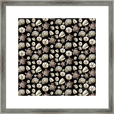 Coastal Pattern Seashells And Turtles Sepia On Black By Megan Duncanson Framed Print by Megan Duncanson