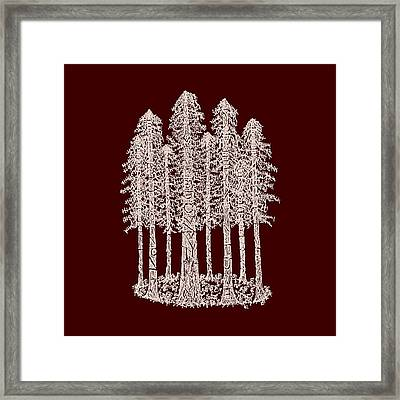 Coastal Redwoods Cathedral Ring - Red Version 2 Framed Print by Hinterlund
