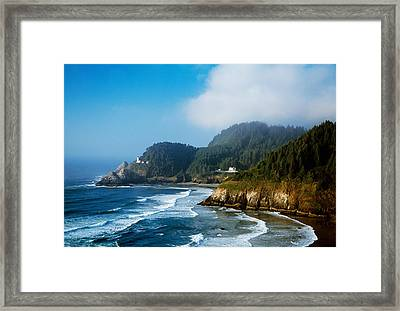 Coastal Scene In Mist With Heceta Head Framed Print by Panoramic Images