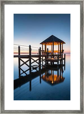 Coastal Serenity - Hatteras Island Gazebo On The Pamlico Sound Framed Print by Mark VanDyke