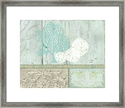 Coastal Trade Winds 1 - Sand Dollars Fan Coral Driftwood Watercolor Framed Print by Audrey Jeanne Roberts
