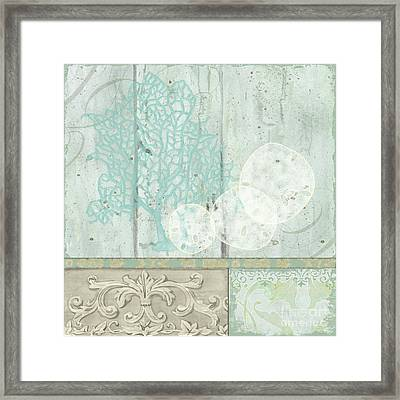 Coastal Trade Winds 1 Square - Sand Dollars Fan Coral Driftwood Watercolor Framed Print by Audrey Jeanne Roberts