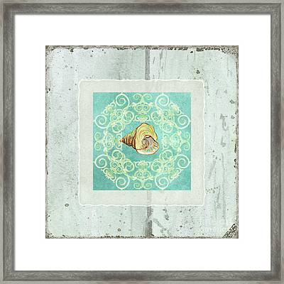 Coastal Trade Winds 2 - Driftwood Seashell Scrollwork Framed Print by Audrey Jeanne Roberts
