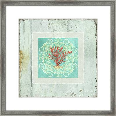 Coastal Trade Winds 3 - Driftwood Red Coral Seashell Scrollwork Framed Print by Audrey Jeanne Roberts