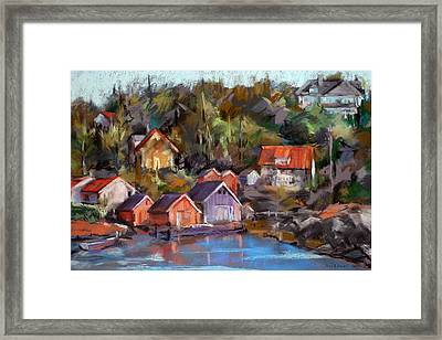 Coastal Village Framed Print by Joan  Jones