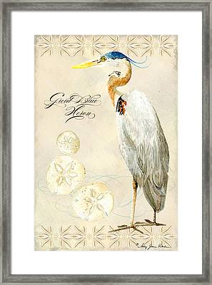 Coastal Waterways - Great Blue Heron Framed Print by Audrey Jeanne Roberts