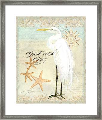 Coastal Waterways - Great White Egret 3 Framed Print by Audrey Jeanne Roberts