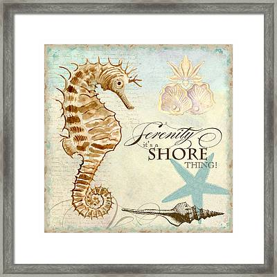 Coastal Waterways - Seahorse Serenity Framed Print by Audrey Jeanne Roberts