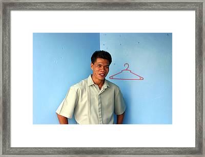 Coat Hanger Smile 2 Framed Print by Jez C Self