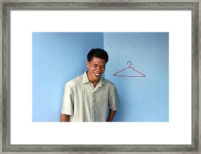 Coat Hanger Smile Framed Print by Jez C Self
