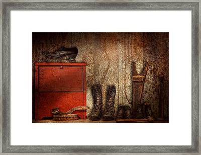Cobbler - The Shoe Shiner 1900  Framed Print by Mike Savad