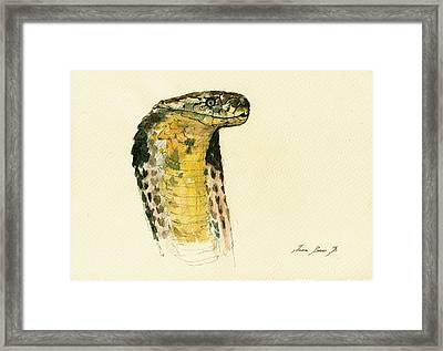 Cobra Snake Poster Framed Print by Juan  Bosco
