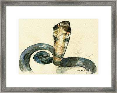 Cobra Snake Watercolor Painting Art Wall Framed Print by Juan  Bosco