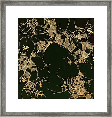 Cobwebs And Insects Framed Print by Japanese School
