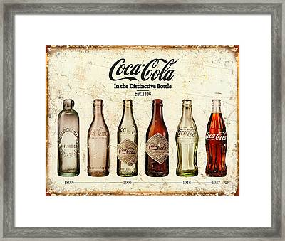 Coca-cola Bottle Evolution Vintage Sign Framed Print by Tony Rubino