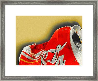 Coca-cola Can Crush Gold Framed Print by Tony Rubino
