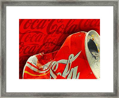 Coca-cola Can Crush Red Logo Background Framed Print by Tony Rubino