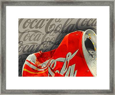 Coca-cola Can Crush Silver Sepia Logo Background Framed Print by Tony Rubino
