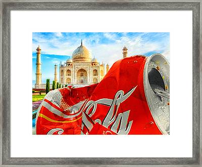 Coca-cola Can Trash Oh Yeah - And The Taj Mahal Framed Print by Tony Rubino