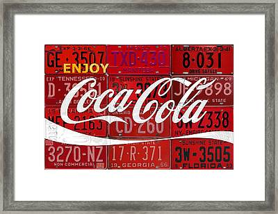 Coca Cola Enjoy Soft Drink Soda Pop Beverage Vintage Logo Recycled License Plate Art Framed Print by Design Turnpike