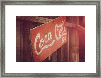 Coca Cola Five Cents Framed Print by Toni Hopper