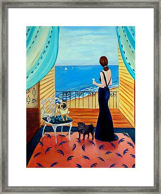 Cocktails For One - Pug Dog Framed Print by Lyn Cook