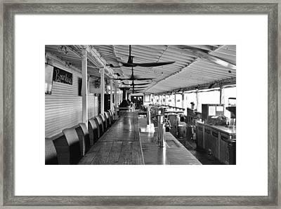 Cocoa Beach Pier Boardwalk Bar - B/w Framed Print by Greg Jackson