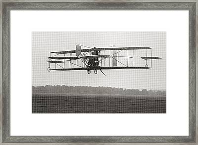 Cody S Biplane In The Air In 1909 Framed Print by Vintage Design Pics