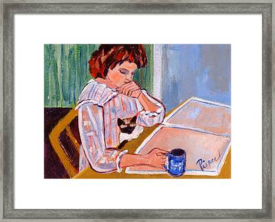 Coffee And Cat Framed Print by Betty Pieper