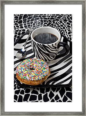 Coffee And Donut On Striped Plate Framed Print by Garry Gay