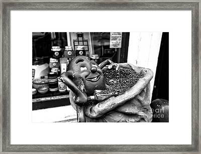 Coffee Bean Man Mono Framed Print by John Rizzuto