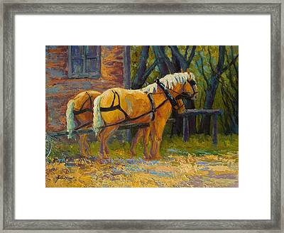 Coffee Break - Draft Horse Team Framed Print by Marion Rose