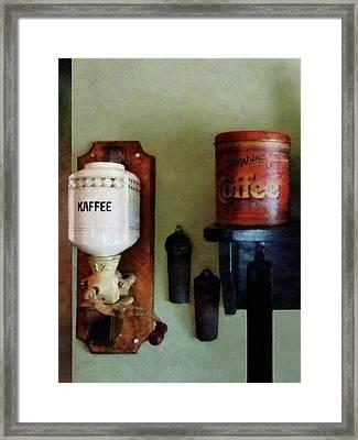 Coffee Can And Coffee Grinder Framed Print by Susan Savad