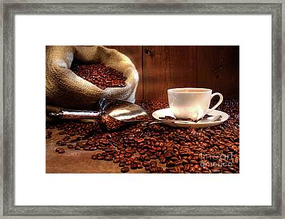 Coffee Cup With Burlap Sack Of Roasted Beans  Framed Print by Sandra Cunningham