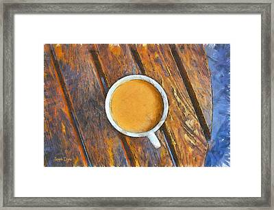 Coffee On The Table - Da Framed Print by Leonardo Digenio