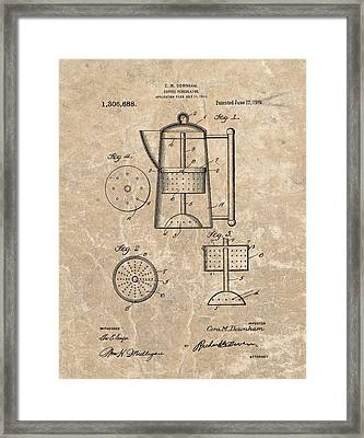 Coffee Percolator Patent Framed Print by Dan Sproul